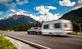 Family vacation travel, holiday trip in motorhome, Caravan car Vacation. Beautiful Nature Italy natural landscape Alps. poster