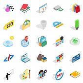 Chemical substance icons set. Isometric set of 25 chemical substance vector icons for web isolated on white background poster