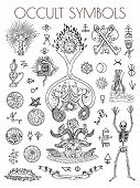 Graphic set with esoteric symbols and illustrations. Occult vector engraved illustrations, tattoo gothic and wicca concept drawings on white poster