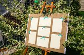 Wedding seating chart on the easel in the park. Outdoors. poster