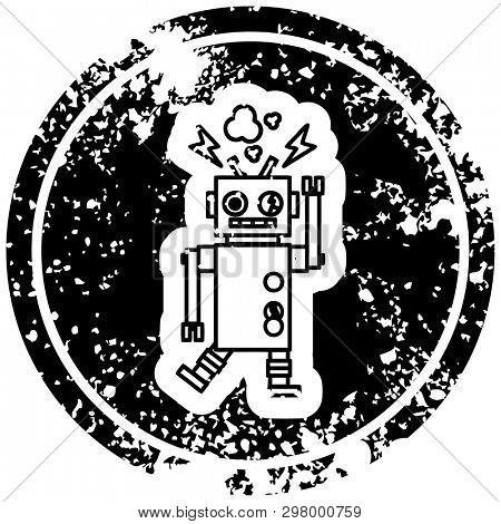 malfunctioning robot distressed icon symbol