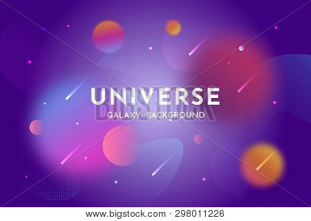 Outer Space Background. Universe, Glowing Galaxy Abstract Backdrop Template With Stardust, Planets,