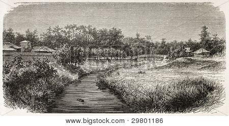 Akabane old view, Japan. Created by De Bar, published on Le Tour du Monde, Paris, 1867