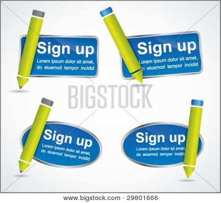 Fun sign up blue web2 icon set with green pencils