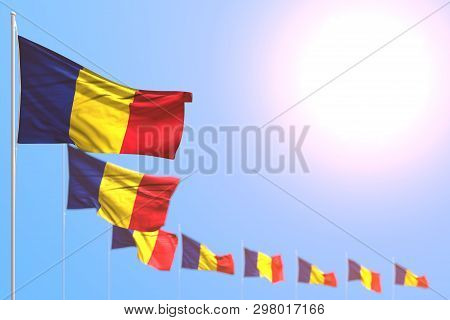 Nice Many Romania Flags Placed Diagonal With Selective Focus And Free Place For Content - Any Feast