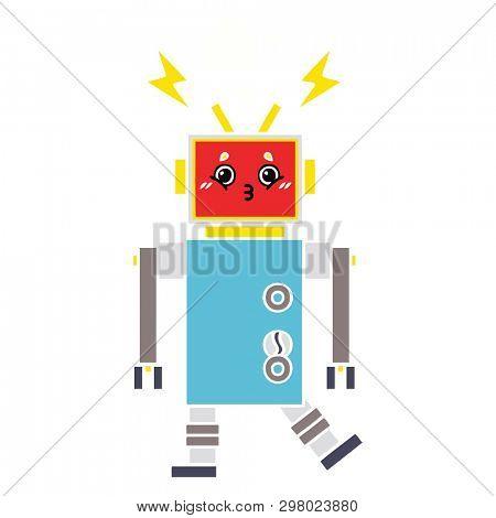 flat color retro cartoon of a robot malfunction