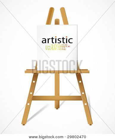 Vector easel with blank canva