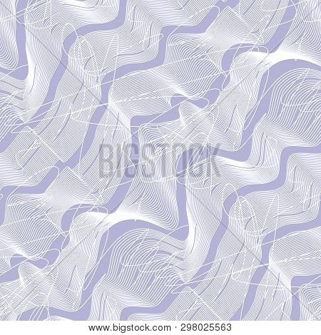 Line Art Waves Seamless Pattern. Visual Movement Illusion With Scribble White Lines. Distorted Purpl