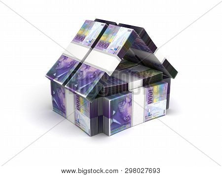 Real Estate Concept Swiss Franc On White 3d Rendering