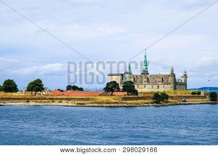 Hamlets Castle Kronborg Slot View From Oresund Sea Strait, Helsingor, Denmark