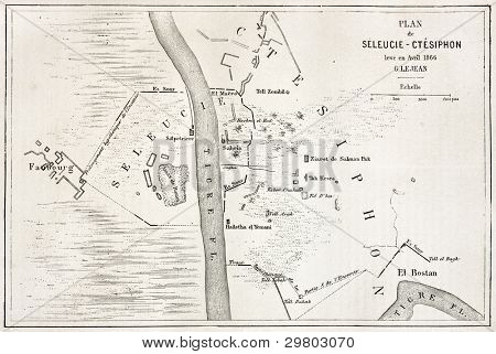 Seleucia and Ctesiphon old plan, Mesopotamia. Created by Erhard after Lejean, published on Le Tour du Monde, Paris, 1867