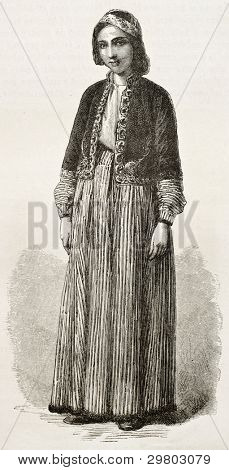 Chaldean girl old engraved portrait. Created by Bayard after photo by unknown author, published on Le Tour du Monde, Paris, 1867 poster