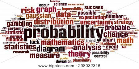 Probability Word Cloud Concept. Collage Made Of Words About Probability. Vector Illustration