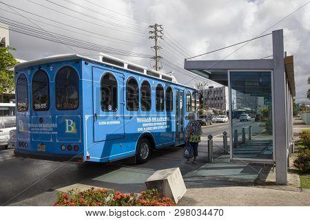 Bayamon/puerto Rico - February 26, 2019: Trolley Car Operates Through Center Of Town.