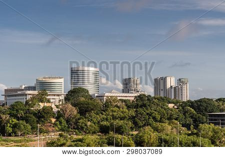 Darwin Australia - February 22, 2019: South Side Office Towers In Downtown Behind Green Zone Holding