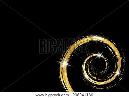 Gold Shiny Glowing Vintage Frame With Golden Brush Strokes Isolated Or Black Background. Gold Leaf L