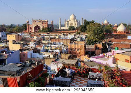 View Of Taj Mahal From The Rooftop Restaurant In Taj Ganj Neighborhood In Agra, India. Taj Mahal Was