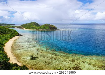 View Of Drawaqa Island Coastline And Nanuya Balavu Island, Yasawa Islands, Fiji. This Archipelago Co