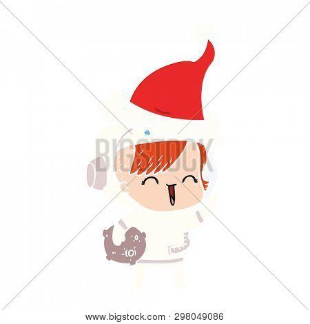 hand drawn flat color illustration of a happy spacegirl holding moon rock wearing santa hat