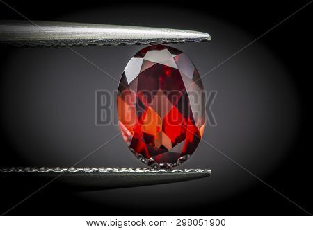 Natural Red Garnet Gems Stone Oval Shape Cut.holding Stone By Tweezers.