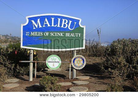 MALIBU - SEPTEMBER 1: Malibu sign along Pacific Coast Highway on September 1, 2011 in Malibu, California