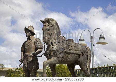 Bayamon/puerto Rico - February 26, 2019: Bronze Statue Of Spanish Conquistador And Horse Near Centra