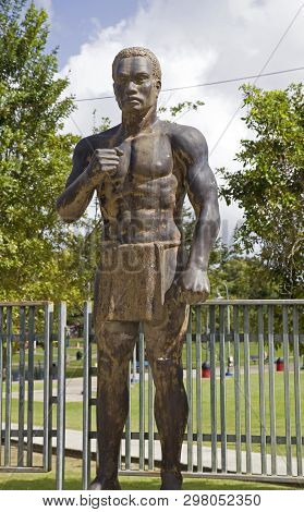Bayamon/puerto Rico - February 26, 2019: Statue Of African Slave  Near Central Park For Children