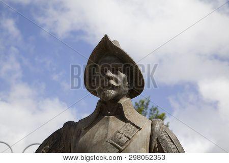 Bayamon/puerto Rico - February 26, 2019: Bronze Statue Of Spanish Conquistador Near Central Park For