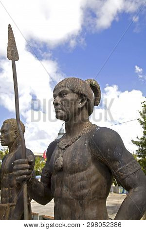 Bayamon/puerto Rico - February 26, 2019: Statue Of Taino Indian Erected Near The Central Park For Ki