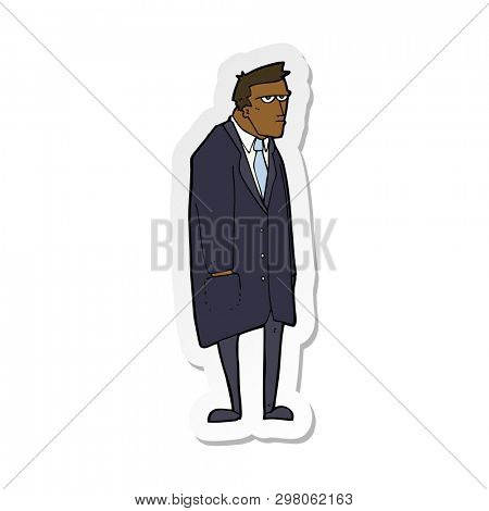 sticker of a cartoon bad tempered man