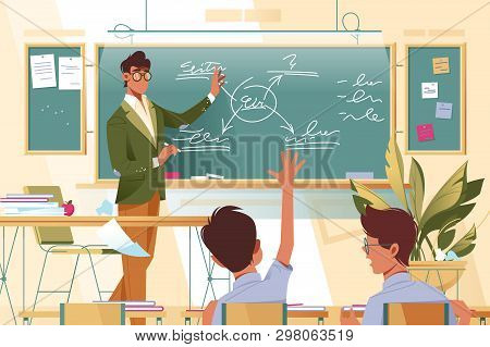 Flat Young Man Teacher With Glasses At Work With Schoolboys In School Lesson. Concept Businessman An