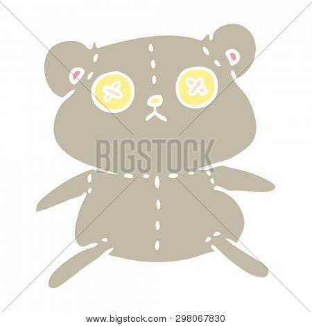 freehand drawn cartoon of a cute stiched up teddy bear