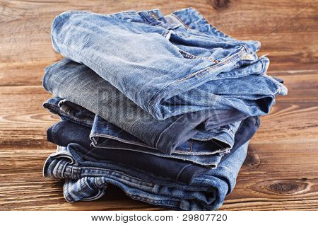 jeans on a wooden plate