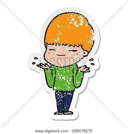 distressed sticker of a cartoon smug boy