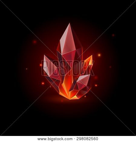 Magic Red Crystal With Sparkle. Decoration Icon For Games. Cartoon Crystals Illustration. Stone Heal