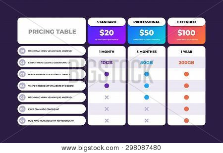 Pricing Table. Comparison Business Web Plans, Column Grid Design Template, Price Chart Banner. Vecto
