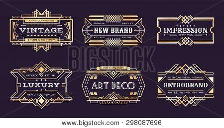 Art Deco Labels. Vintage Ornamental Logos, 1920s Vintage Golden Badge, Nouveau Decorative Banners. V
