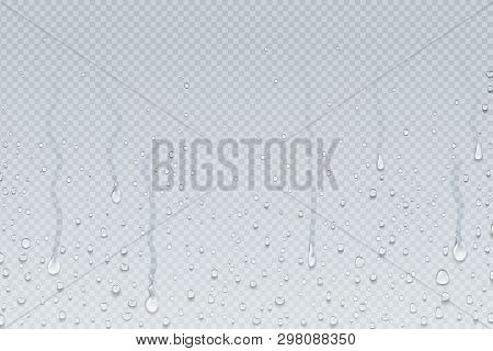 Water Drops Background. Shower Steam Condensation Drips On Transparent Glass, Rain Drops On Window.