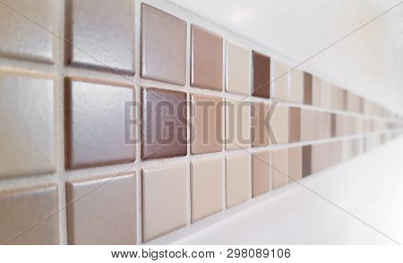 Colse Up Of Modern Mosaic Tiles On Wall - Selected Focus - Narrow Depth Of Field