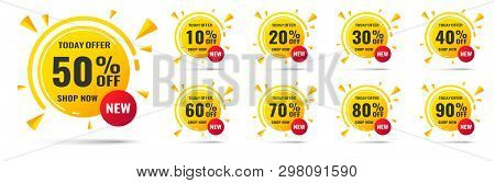 Sale Tags Set Vector Badges Template, 10 Off, 20 , 90, 80, 30, 40, 50, 60, 70 Percent Label Symbols,