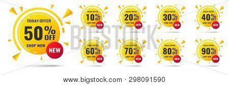 Sale Tags Set Vector Badges Template, 10 Off, 20 , 90, 80, 30, 40, 50, 60, 70 Percent Label Symbols,