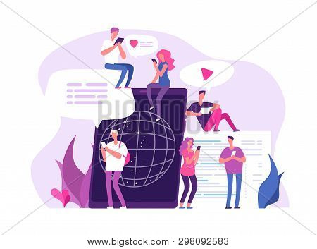 People Online Chatting. Global Connections Media Chat Discussion Networking Communication Friend Cha