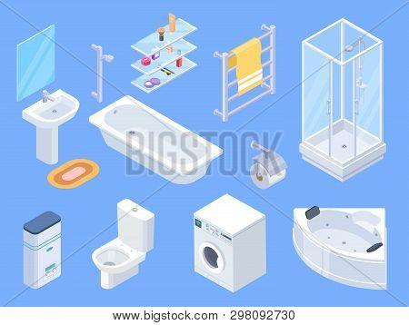 Bathroom Isometric. Bathrooms Interior Isometrics Elements, Toilet Water Closet And Towel Dryer, Was