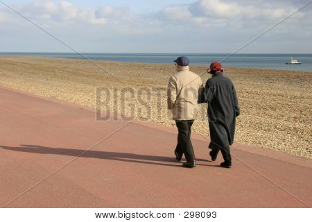 Old Couiple Walking Together