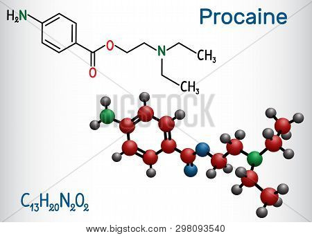 Procaine molecule. Is a local anesthetic drug. Structural chemical formula and molecule model poster
