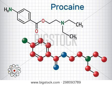 Procaine Molecule. Is A Local Anesthetic Drug. Structural Chemical Formula And Molecule Model. Sheet