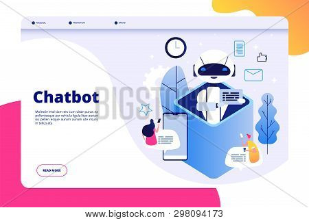 Chatbot Concept. Chat With Android Woman Man Talking With Mobile Phone To Ai Application Bots Help H