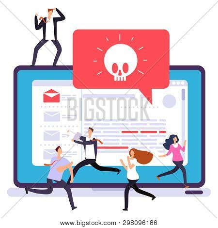 Laptop Virus Alert, Hacker Attack. Office Panic Due To Hacker Attack On Computer Vector Illustration