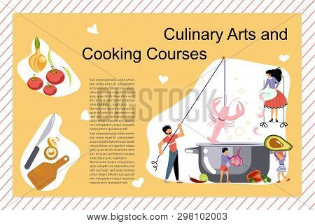 Culinary Art And Cooking Courses Poster, Banner Template. Happy Family Cooking Together A Seafood So