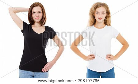 T-shirt Design And People Concept - Close Up Of Young Two Woman In Shirt Blank Black And White Tshir